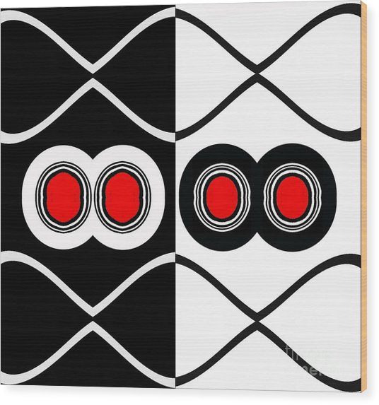 Minimalism Geometric Art Black White Red Abstract Print No.83. Wood Print by Drinka Mercep