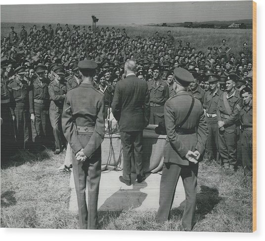 Minister Of Defence Inspects The Territorial�s. Addresses Wood Print by Retro Images Archive