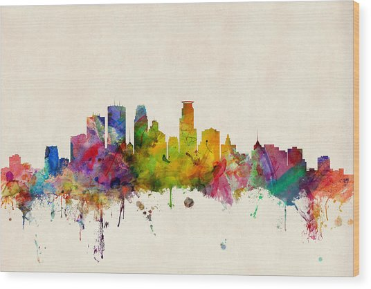Minneapolis Minnesota Skyline Wood Print