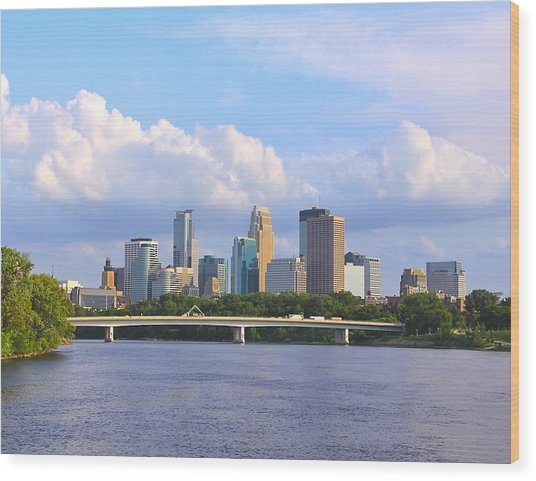 Minneapolis On River3 Wood Print