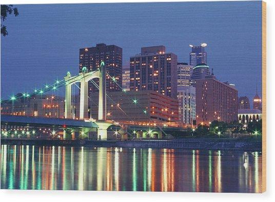 Minneapolis Skyline At Night Wood Print