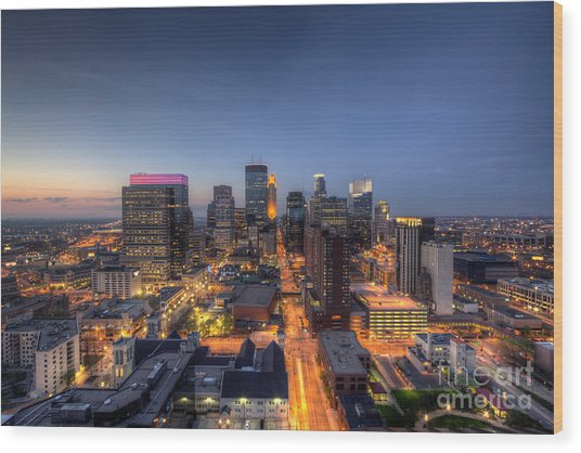 Minneapolis Skyline At Night Wood Print