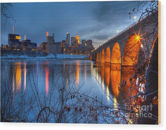 Minneapolis Skyline Images Stone Arch Bridge Spring Evening Wood Print
