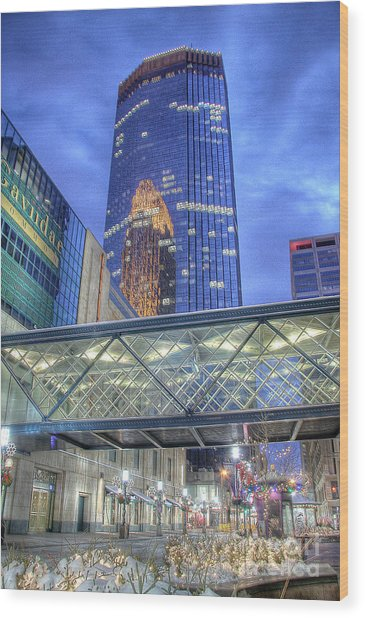 Minneapolis Skyline Photography Nicollet Mall Winter Evening Wood Print