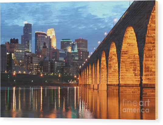 Minneapolis Skyline Photography Stone Arch Bridge Wood Print