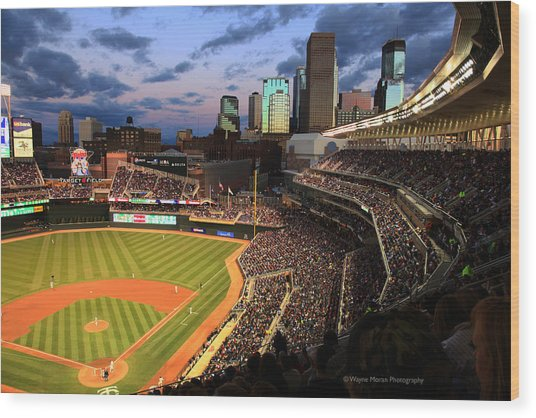 Minnesota Twins Minneapolis Skyline Target Field Wood Print