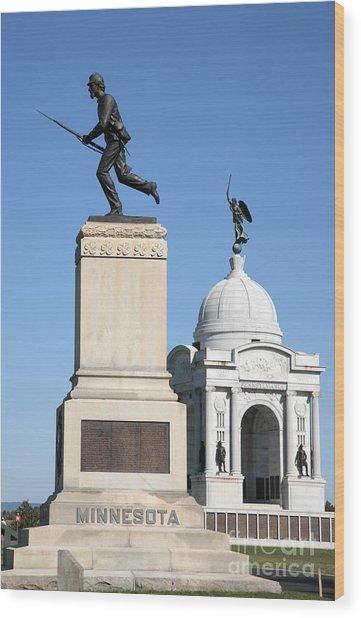 Minnesota And Pennsylvania Monuments At Gettysburg Wood Print