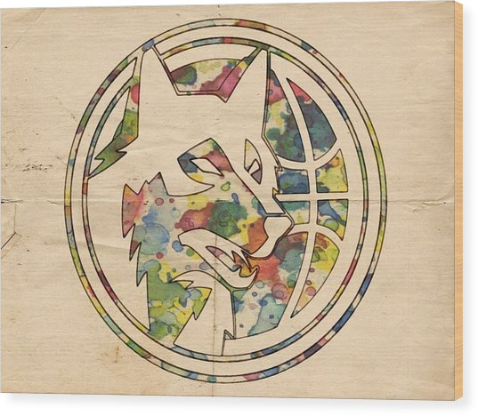 Minnesota Timberwolves Logo Art Wood Print
