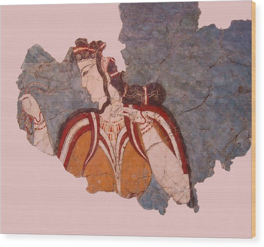 Minoan Wall Painting Wood Print