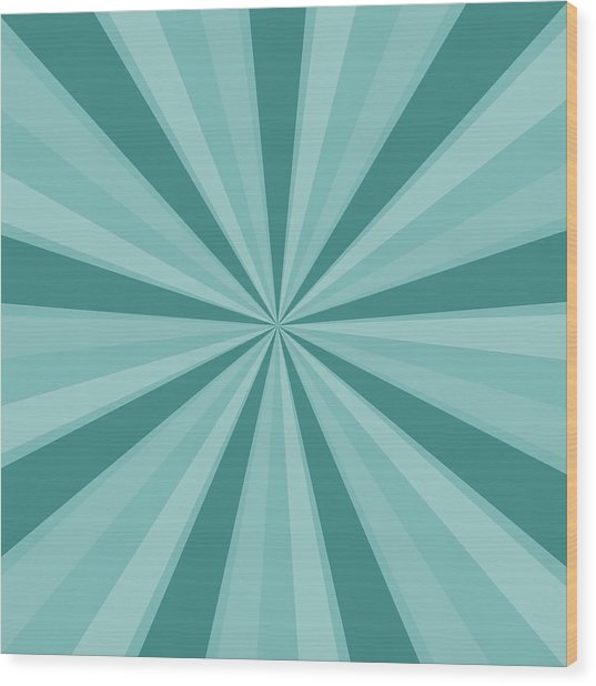 Mint Teal Sun Burst Wood Print