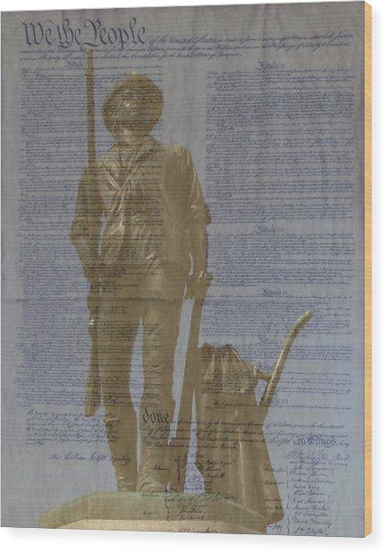 Minuteman Constitution Wood Print