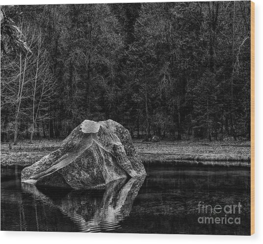 Mirror Lake Boulder Wood Print