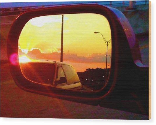 Mirror Sunset Wood Print