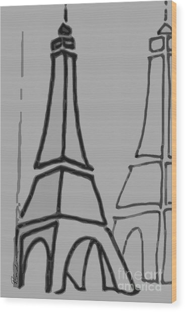 Mirrored Eiffel Tower Wood Print