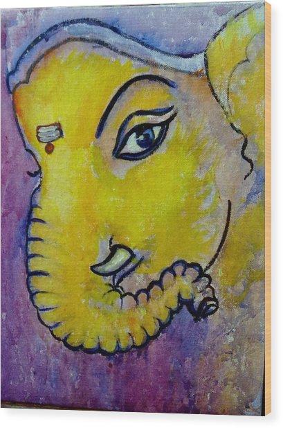 Mischievous Ganesha Wood Print