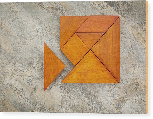 Misfit Concept With Tangram Wood Print