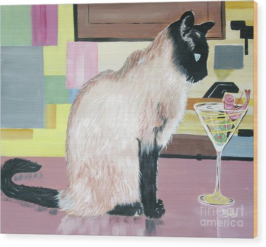 Miss Kitty And Her Treat Wood Print