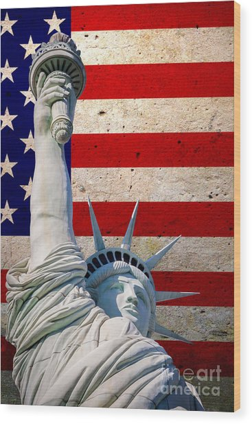 Miss Liberty 2 Wood Print