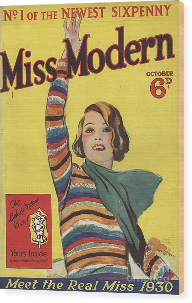 Miss Modern 1930 1930s Uk First Issue Wood Print by The Advertising Archives
