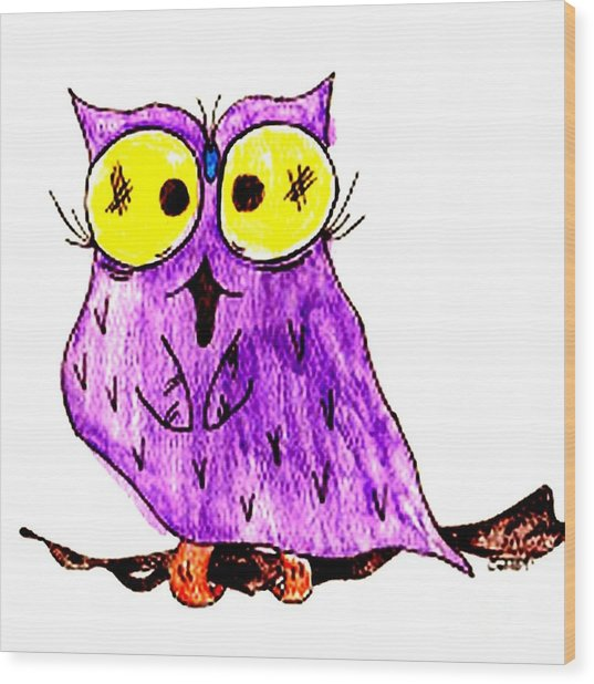 Miss Owl Wood Print by Donna Daugherty