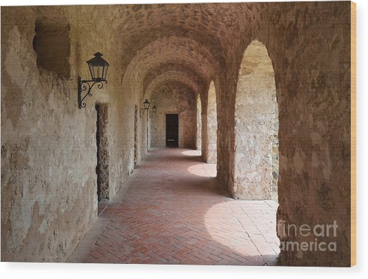 Mission Concepcion Promenade Walkway In San Antonio Missions National Historical Park Texas Wood Print