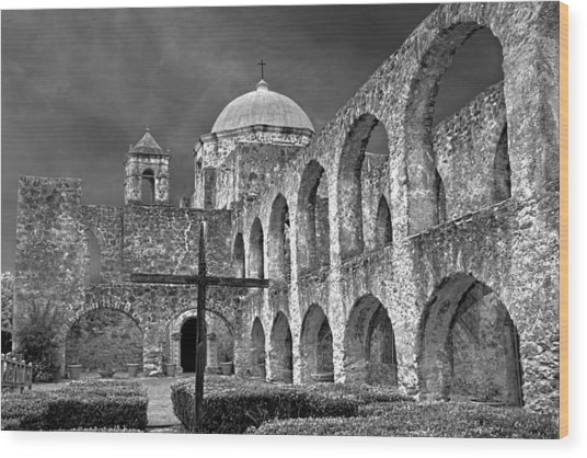 Mission San Jose Arches Bw Wood Print