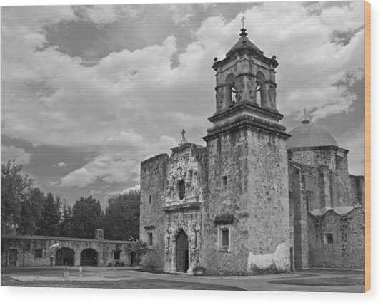 Mission San Jose Bw Wood Print
