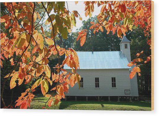Missionary Baptist Church Autumn Afternoon Wood Print by John Saunders