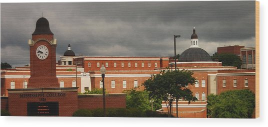 Mississippi College Clock Wood Print by Donnell Carr