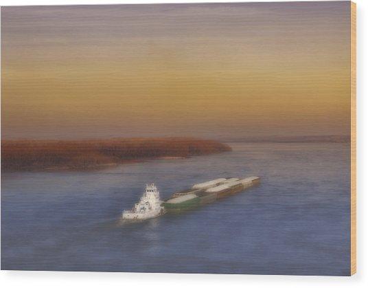 Mississippi Sunset Wood Print