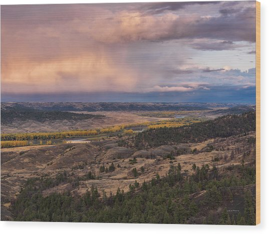Missouri River Storm Sunset Wood Print by Leland D Howard