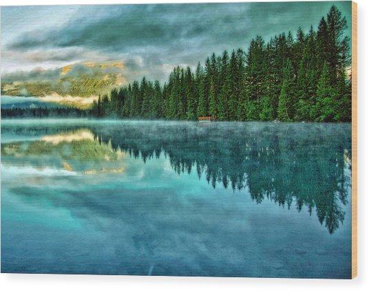 Mist And Moods Of Lake Beauvert  Wood Print