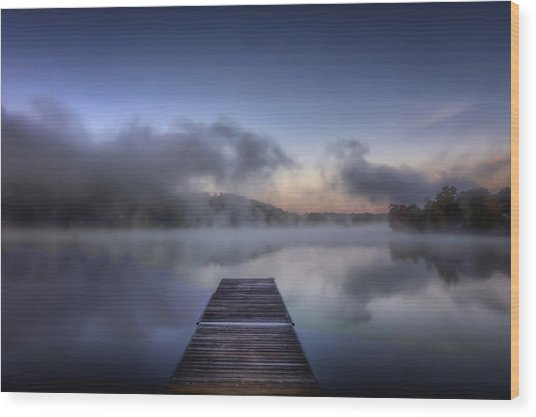 Mist At Lake Logan Wood Print