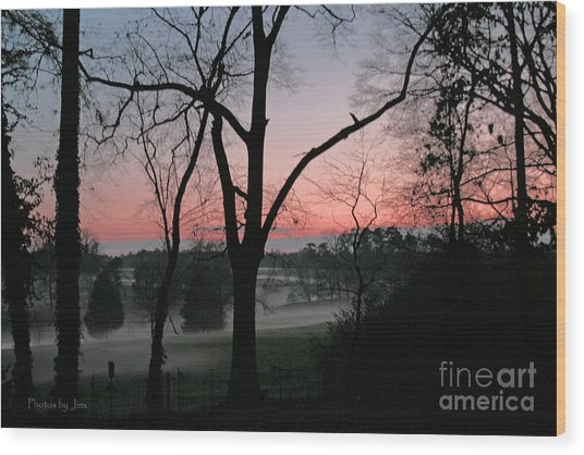 Mist At Sunset Wood Print by Jinx Farmer