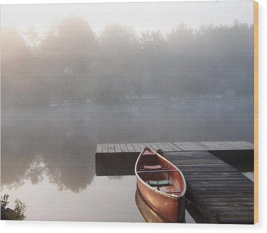 Mist Floating Over The Lake Wood Print