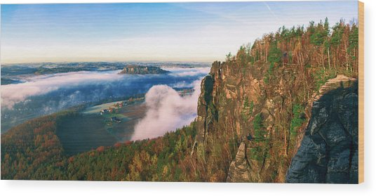 Mist Flow Around The Fortress Koenigstein Wood Print