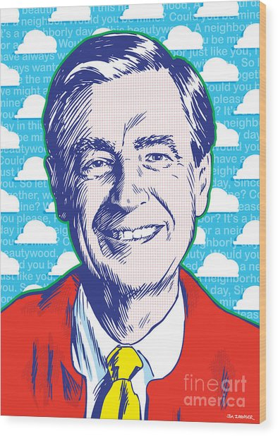 Mister Rogers Pop Art Wood Print