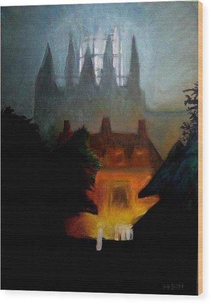Misty Castle Wood Print