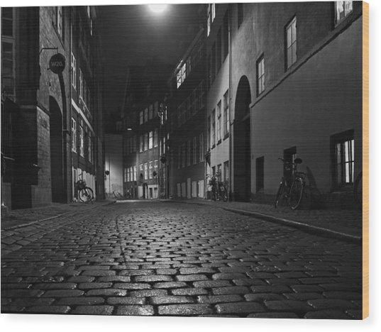 Misty Copenhagen Night Wood Print