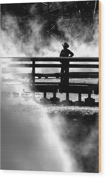 Misty Cowgirl Wood Print