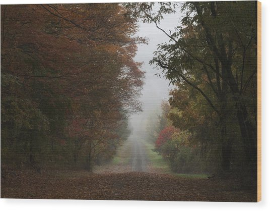 Misty Fall Morning Wood Print