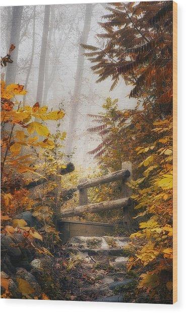 Misty Footbridge Wood Print