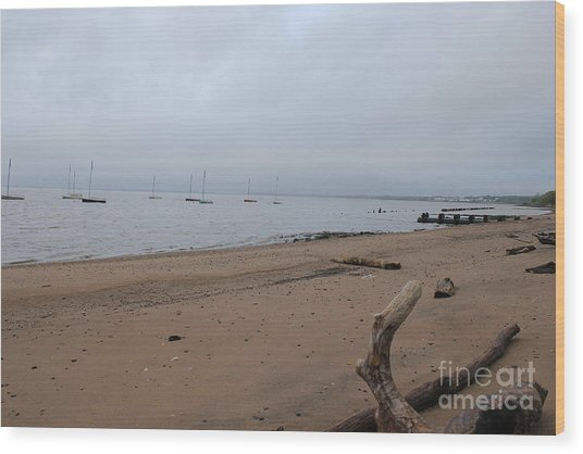 Misty Harbor Wood Print