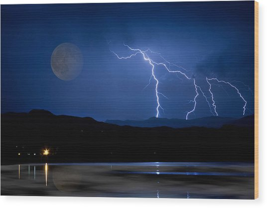 Misty Lake Full Moon Lightning Storm Fine Art Photo Wood Print