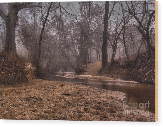 Misty Morning Creek Wood Print