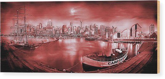 Misty Morning Harbour - Red Wood Print