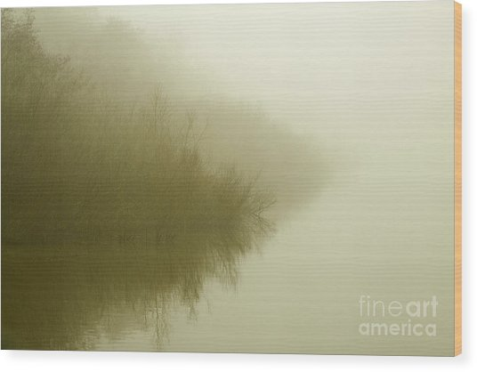 Misty Morning Reflection. Wood Print