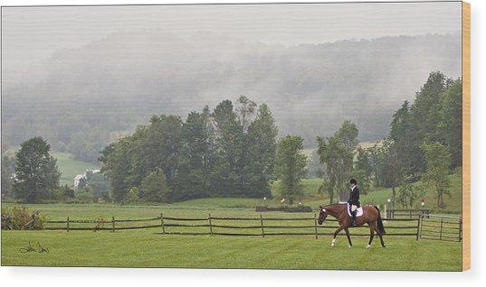 Misty Morning Ride Wood Print