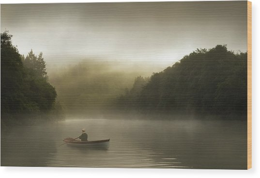 Misty Morning Row On A Forested River Wood Print by Justin Lewis