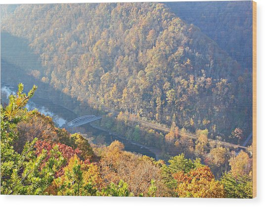 Misty Morning View Of The New River Gorge Old County Road 82 Bri Wood Print